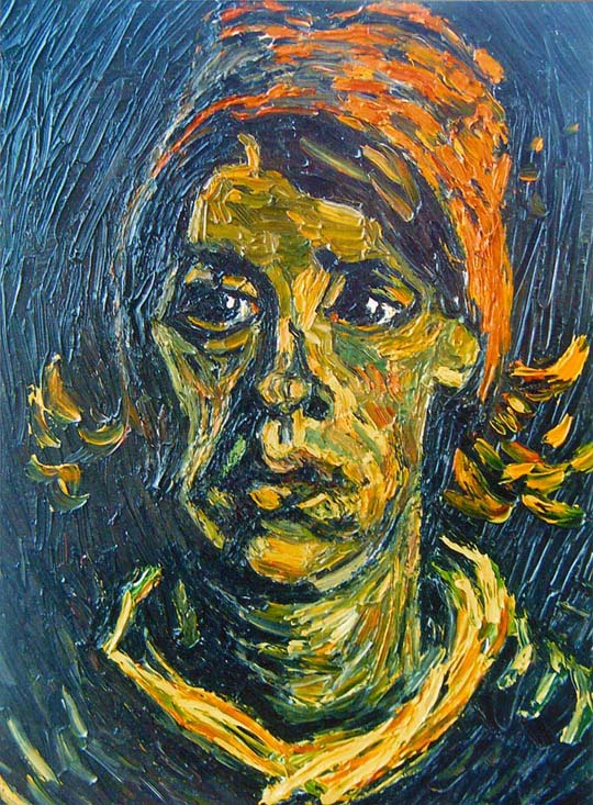 Reproductions and Copies of masterpieces oil on canvas Vincent Van Gogh revisited by Ida Parigi's paintings: Head of a Woman