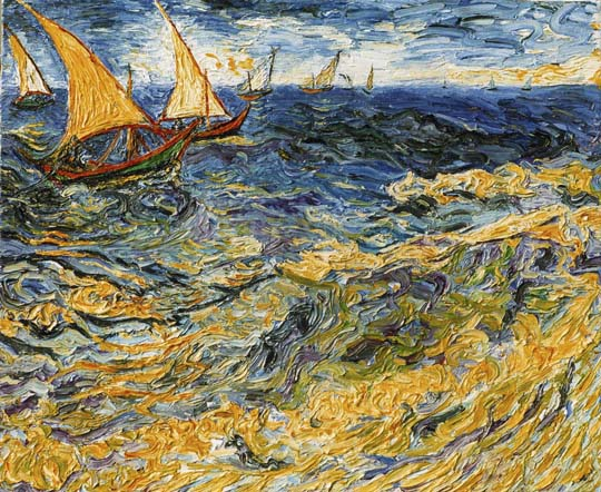Reproductions and Copies of masterpieces oil on canvas Vincent Van Gogh revisited by Ida Parigi's paintings: Seascape at Saint-Maries
