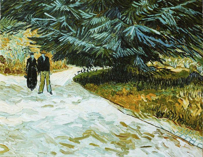 Riproduzione, Copia, Rivisitazioni, Falsi d'Autore olio su tela di Vincent Van Gogh by Ida Parigi: Giardino Pubblico con Coppia e Albero di Abete Blu