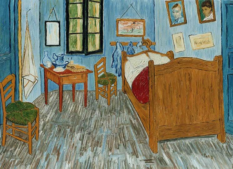 Riproduzione, Copia, Rivisitazioni, Falsi d'Autore olio su tela di Vincent Van Gogh by Ida Parigi: La Camera di Vincent Van Gogh ad Arles