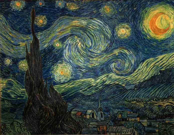 Reproductions and Copies of masterpieces oil on canvas Vincent Van Gogh revisited by Ida Parigi's paintings: Starry Night