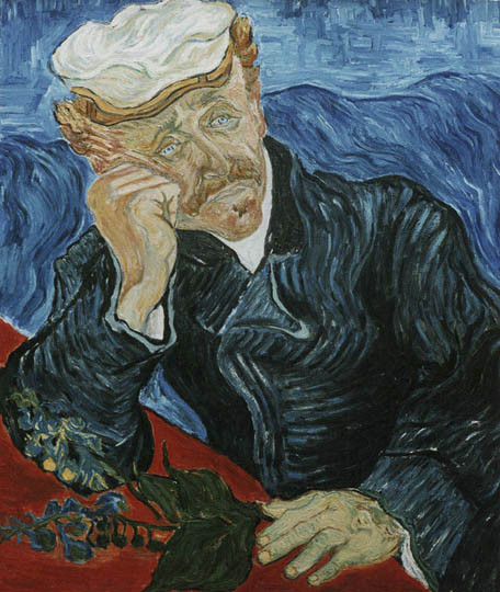 Reproductions and Copies of masterpieces oil on canvas Vincent Van Gogh revisited by Ida Parigi's paintings: Portrait of Doctor Gachet