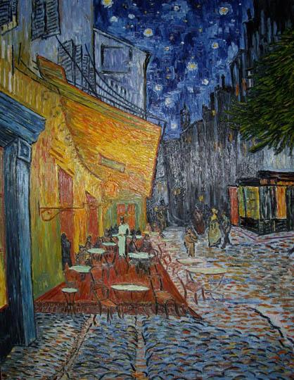 Riproduzione, Copia, Rivisitazioni, Falsi d'Autore olio su tela di Vincent Van Gogh by Ida Parigi: Terrazza del Caffè sulla piazza del Forum, ad Arles, di notte