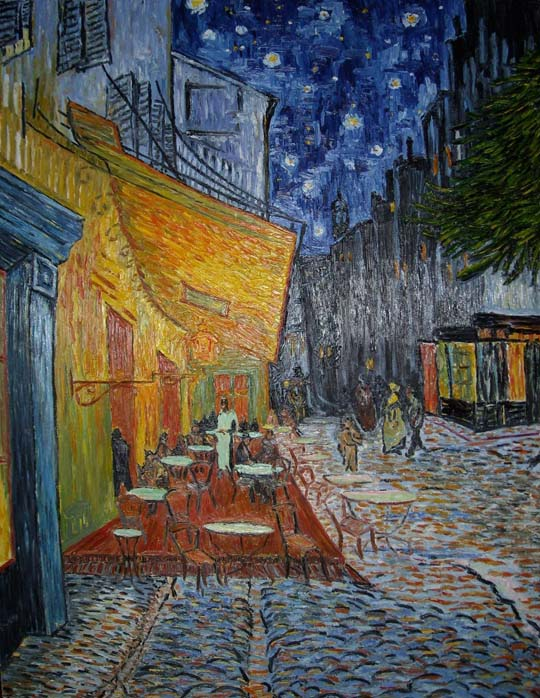 Reproductions and Copies of masterpieces oil on canvas Vincent Van Gogh revisited by Ida Parigi's paintings: The Cafe Terrace on the Place du Forum Arles at Night