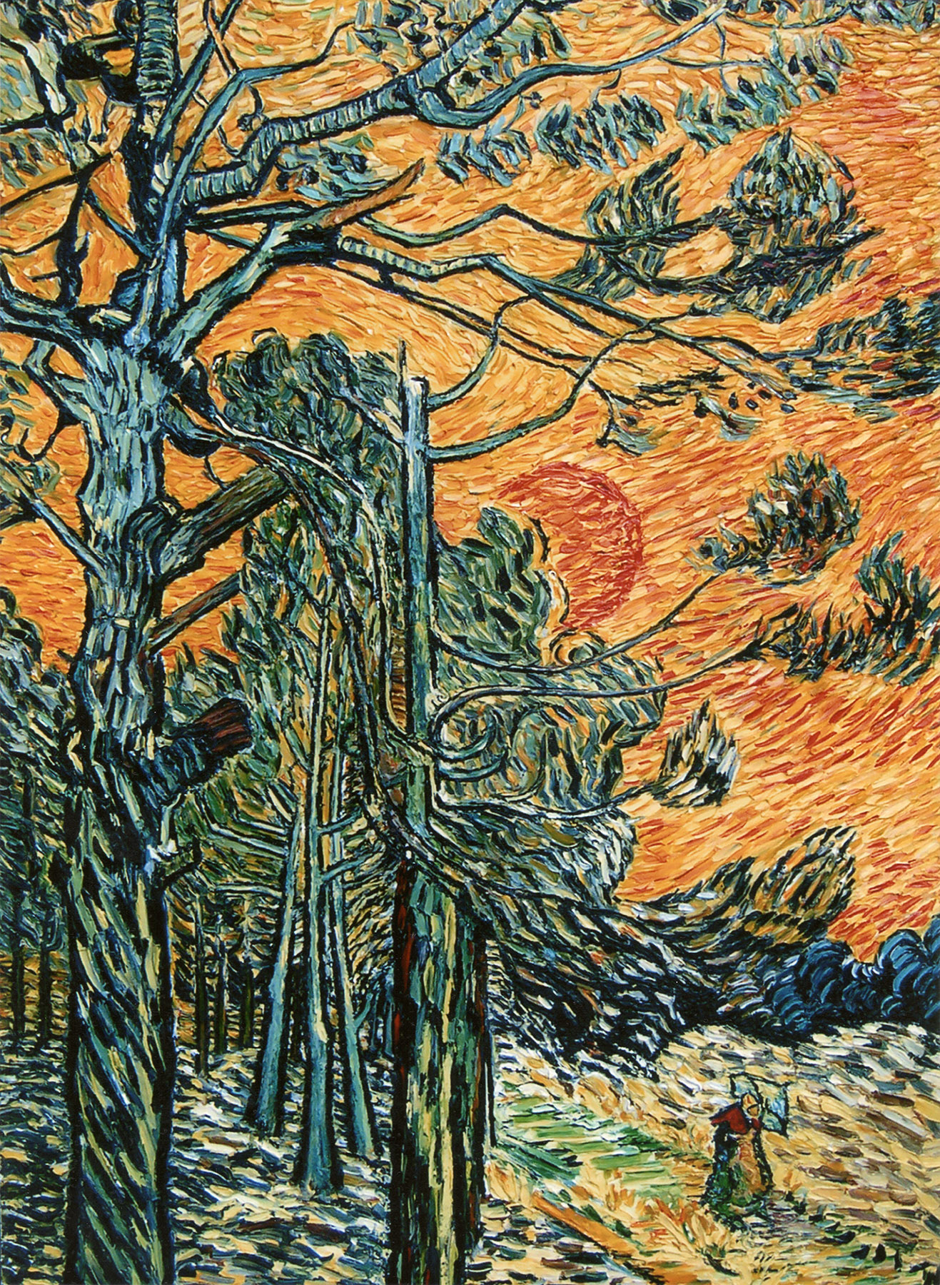 Reproductions and Copies of masterpieces oil on canvas Vincent Van Gogh revisited by Ida Parigi's paintings: Pine Trees against a Red Sky with Setting Sun