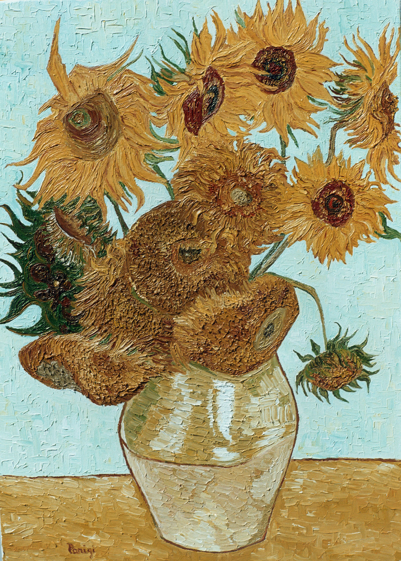 Reproductions and Copies of masterpieces oil on canvas Vincent Van Gogh revisited by Ida Parigi's paintings: Still Life: Vase with Twelve Sunflowers