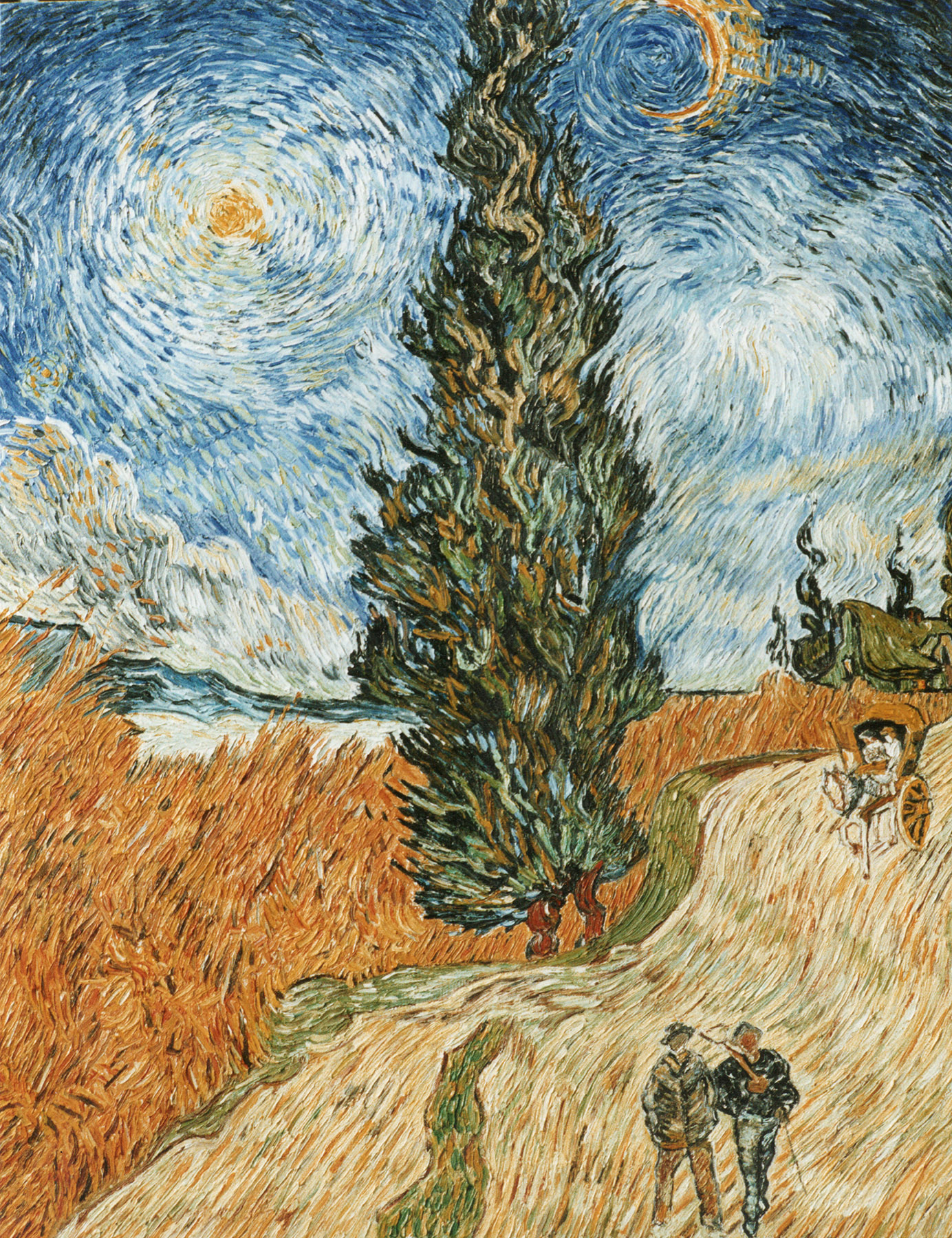 Reproductions and Copies of masterpieces oil on canvas Vincent Van Gogh revisited by Ida Parigi's paintings: Road of the Cypresses